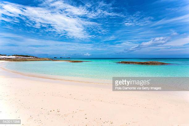 Beautiful beach in Great Stirrup Cay, Bahamas, caribbean ocean and idyllic islands in a sunny day