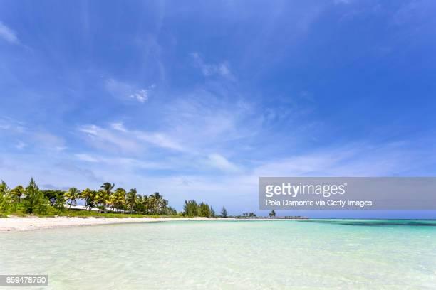 Beautiful beach in The Bahamas, caribbean ocean and idyllic islands in a sunny day