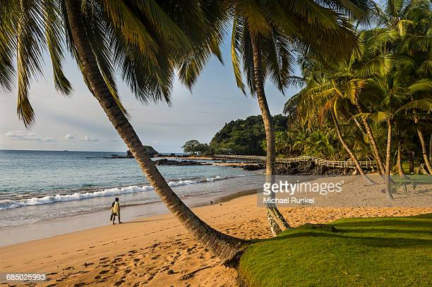 Beautiful beach in the Bom Bom Resort, UNESCO Biosphere Reserve, Principe, Sao Tome and Principe, Atlantic Ocean, Africa