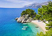 Beautiful beach, Mediterranean sea, Makarska riviera, Croatia
