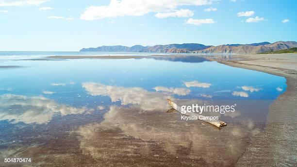 beautiful beach reflections at playa naranjo, santa rosa national park, costa rica - parque nacional de santa rosa fotografías e imágenes de stock