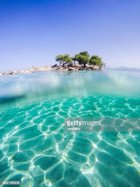 Beautiful beach with an island