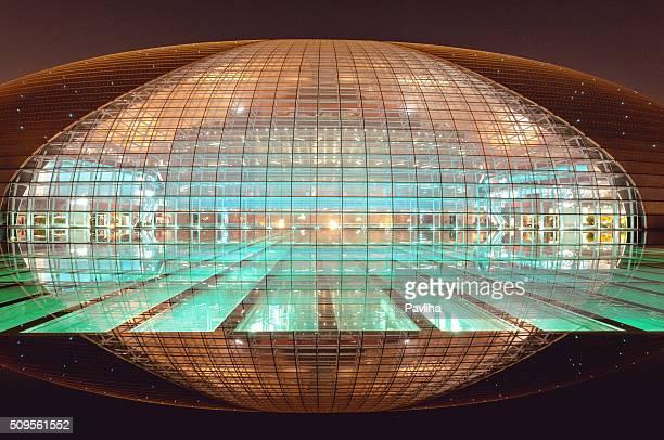 beautiful beijing opera house at night, beijing,china - beijing opera stock photos and pictures