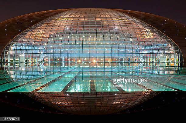 beautiful beijing opera house at night - beijing opera stock photos and pictures