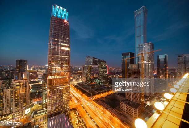 beautiful beijing skyline at sunset - twilight stock pictures, royalty-free photos & images
