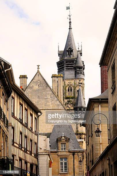 beautiful belfry of compiegne city hall - コンピエーニュ ストックフォトと画像