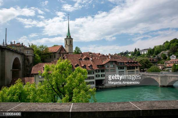 beautiful bern old town and aare river on a sunny day - 時計台 ストックフォトと画像