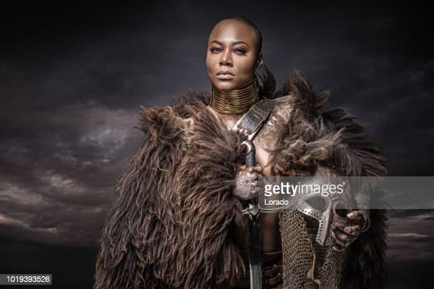 beautiful black warrior princess - mulher guerreira imagens e fotografias de stock