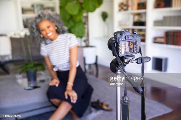 Beautiful Black Woman Recording a Video