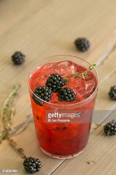 Beautiful blackberry cocktail with ice