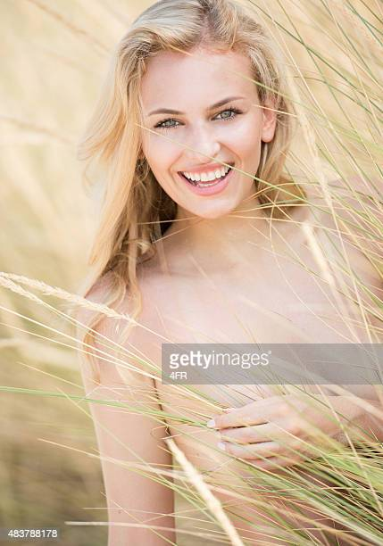 Beautiful blond woman, Candid Outdoor Portrait