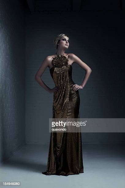 beautiful blond young woman fashion model in evening gown - evening gown stock photos and pictures