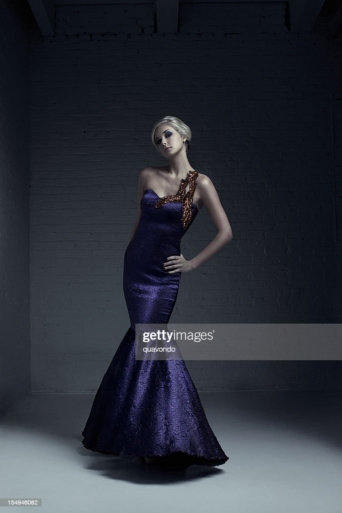 Beautiful Blond Young Woman Fashion Model in Evening Gown : Stock Photo