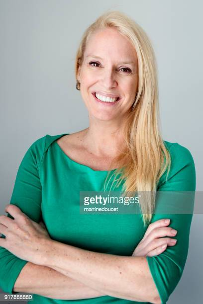 """beautiful blonde and mature woman portrait. - """"martine doucet"""" or martinedoucet stock pictures, royalty-free photos & images"""