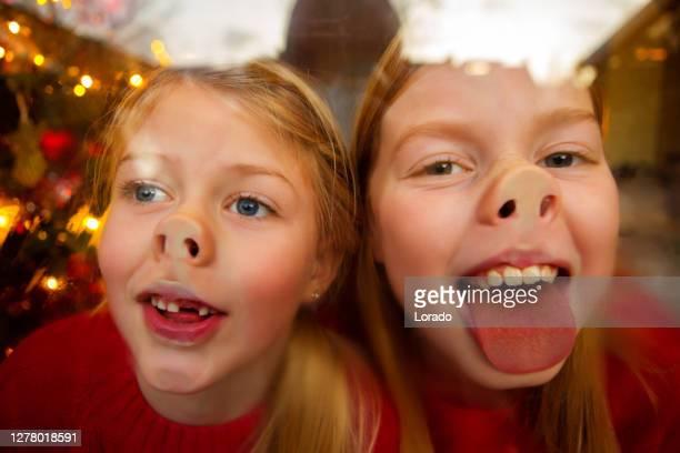 mooie blonde nederlandse familie bij kerstmis - christmas jumper stockfoto's en -beelden