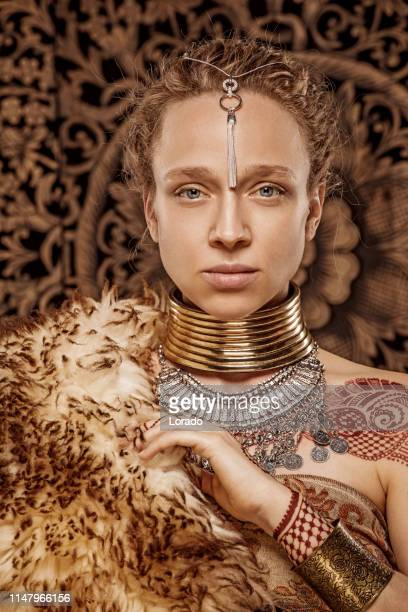 beautiful blonde ethnic warrior woman - royal person stock pictures, royalty-free photos & images