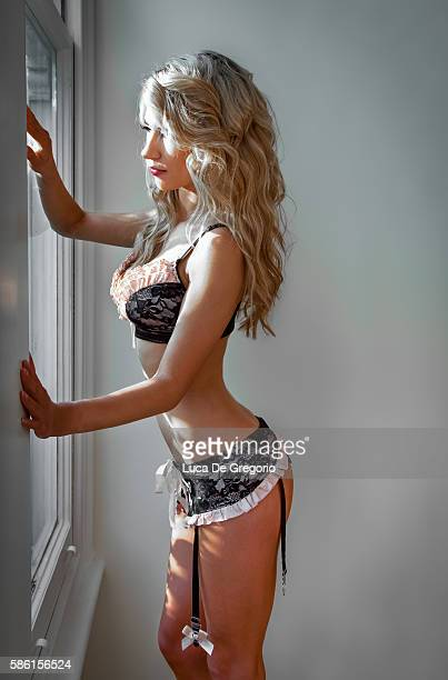 beautiful blonde girl in a bikini - skinny blonde stock photos and pictures