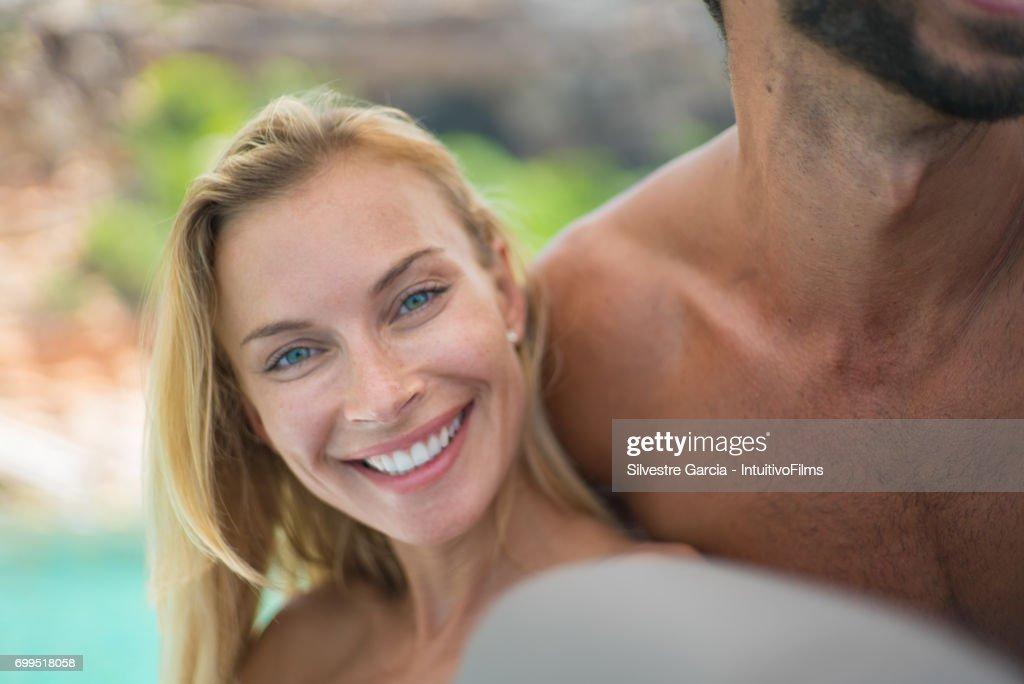 Beautiful Blonde Girl In Bikini With Man In Yatch Stock Photo