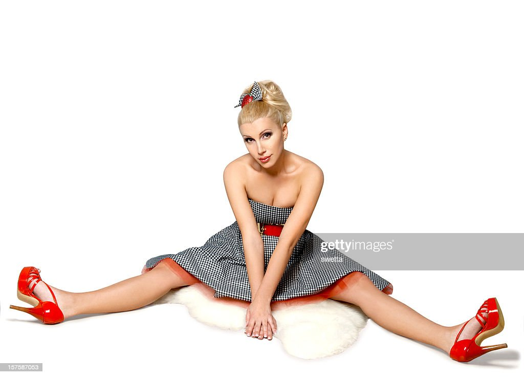 Beautiful blonde in a short dress : Stock Photo