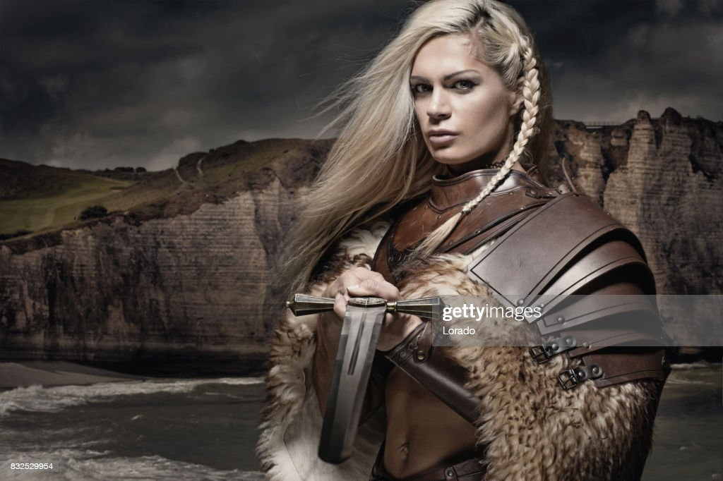 Female Viking Character stock photo. Image of fear, forest