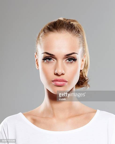 beautiful blonde young woman, close up of face - ponytail stock pictures, royalty-free photos & images