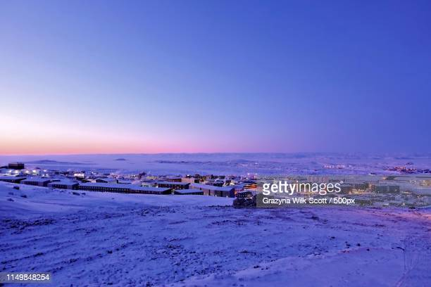 beautiful blue and pink morning - baffin island stock pictures, royalty-free photos & images