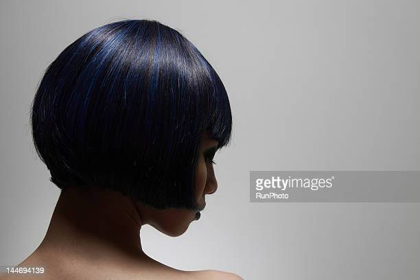 Beautiful blue hair young woman,profile