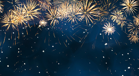 Beautiful Blue Holiday background with fireworks 1078986570