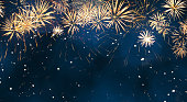 Beautiful Blue Holiday background with fireworks