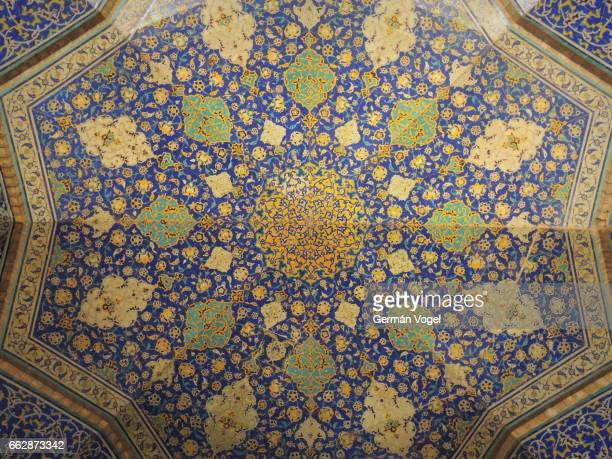 Beautiful blue Islamic art mosaic on Imam mosque ceiling - Isfahan, Iran