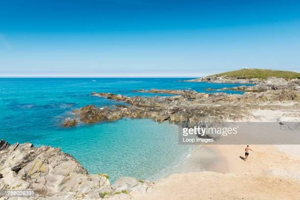 Beautiful blue sea at Little Fistral in Newquay in Cornwall.