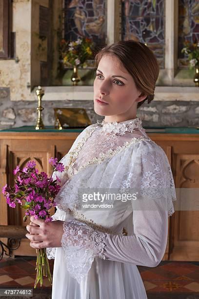 Beautiful Blushing Bride Waiting In Church