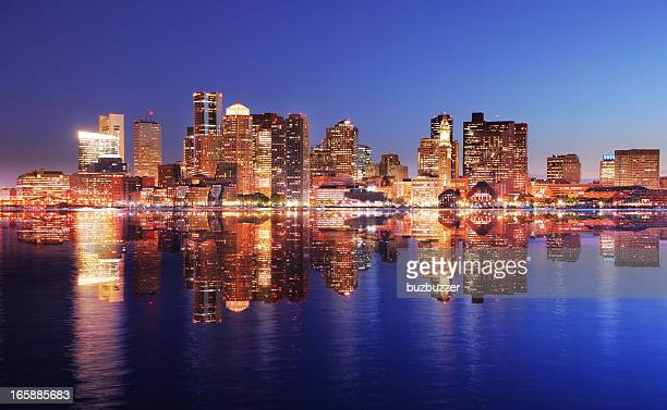 beautiful boston city highlights reflection - boston skyline stock pictures, royalty-free photos & images