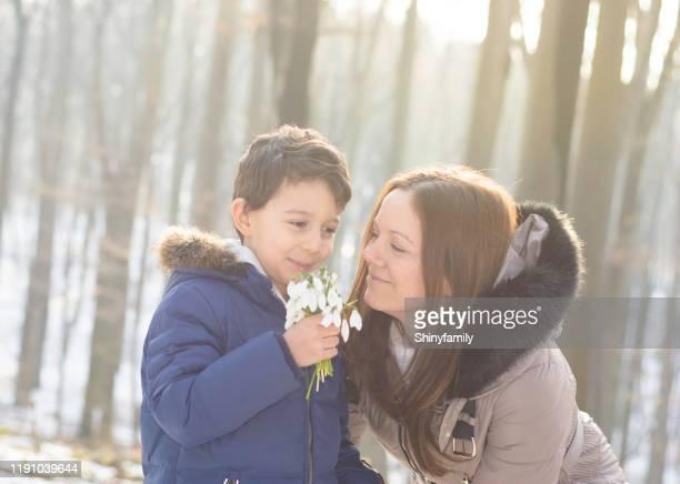beautiful boy picked up snowdrop flowers for his mother - fevereiro imagens e fotografias de stock