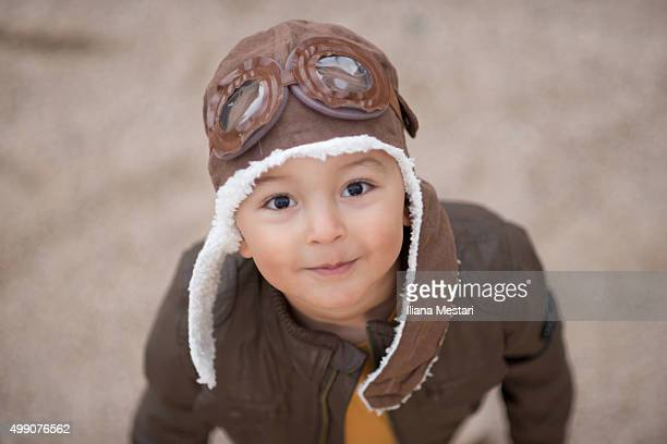 Beautiful boy with an aviator hat