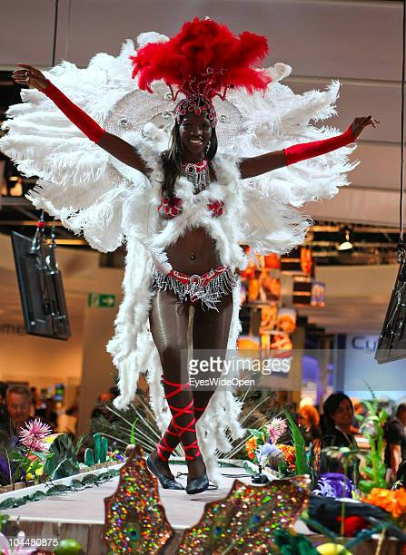 Beautiful brasilian dancer is performing on the Photokina fair on September 21 2010 in Cologne Germany The Photokina is the world's biggest trade...