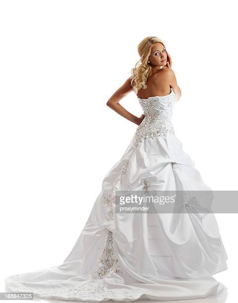 Beautiful bride on white background