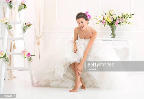 beautiful bride. - feet model stock pictures, royalty-free photos & images