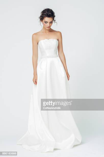 beautiful bride - white satin stock photos and pictures