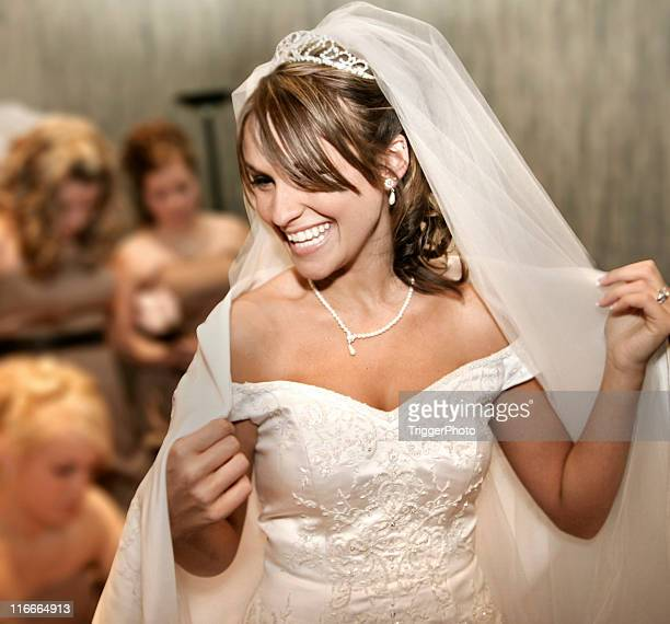 Beautiful Bride Smiling White Teeth Wedding Dress