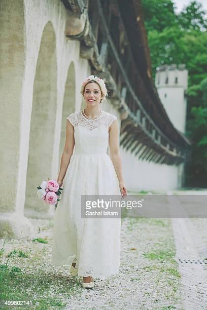 Beautiful bride walking