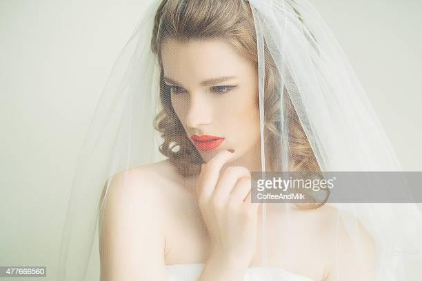 Beautiful bride wearing veil