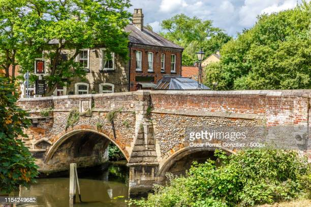 beautiful bridge of stone and bricks with a lot of vegetation ar - norwich england stock pictures, royalty-free photos & images
