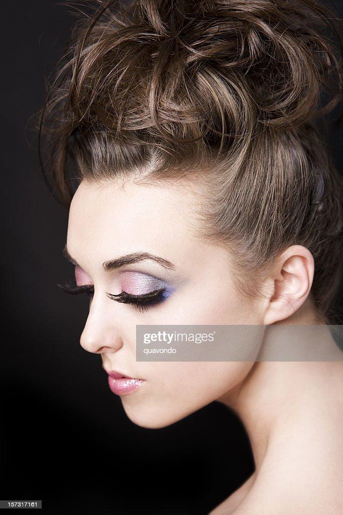 Beautiful Brunette Fashion Model In False Eyelashes And Updo