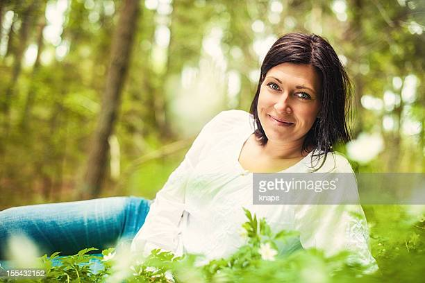 beautiful brunette in nature - 30 39 years stock pictures, royalty-free photos & images