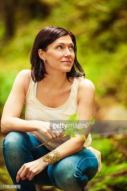 beautiful brunette outdoors - 30 39 years stock pictures, royalty-free photos & images