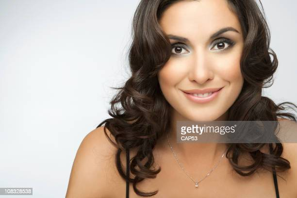 beautiful brunette - gold chain stock photos and pictures