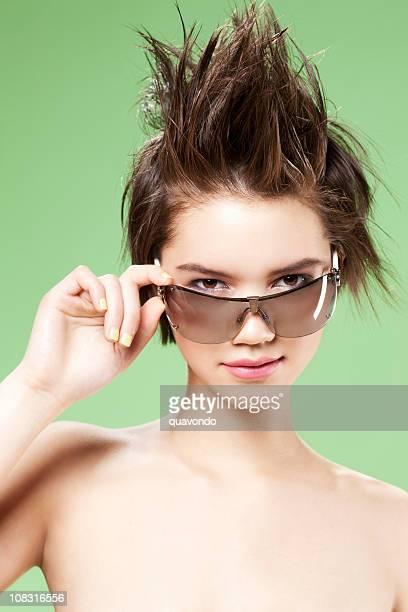 Beautiful Brunette Teenage Fashion Model Wearing Sunglasses and Spiky Hair