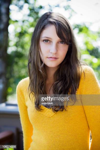 Beautiful Brunette Teenage Portrait on Sunny Day, Copy Space