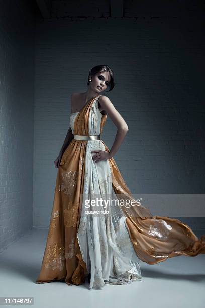 beautiful brunette young woman fashion model in evening gown - evening gown stock photos and pictures